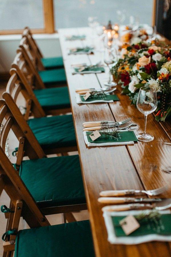 Lovely emerald green wedding table decor   Image by Paula O'Hara