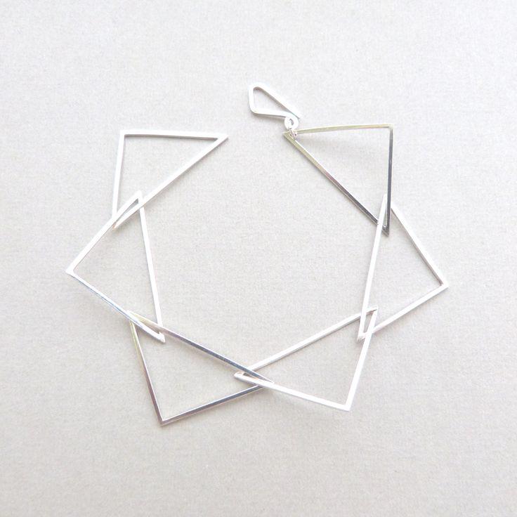 Multi triangle bracelet in silver // Minimal luxe handmade jewellery by Elin Horgan