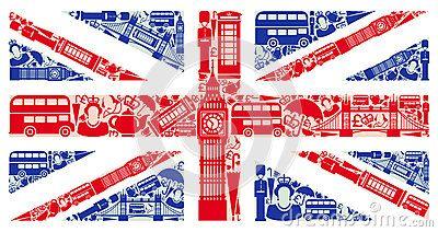 Bandera de Inglaterra, formada por iconos representativos.