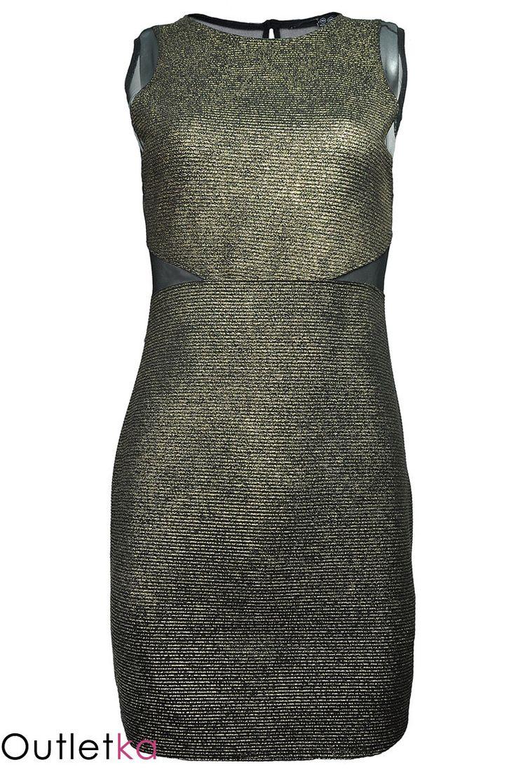 Nowa czarno złota sukienka firmy Atmosphere. Materiał świetnie dopasowuje się do sylwetki. Tył i bok sukienki wykonane zostały z szyfonu, który nadaje jej elegancji, oraz ciekawy i oryginalny wygląd. Z tyłu zapinana na guzik, a'la łezka.