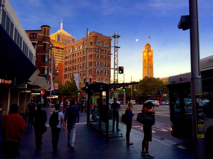 More golden sunshine on the clock tower at Central station Sydney