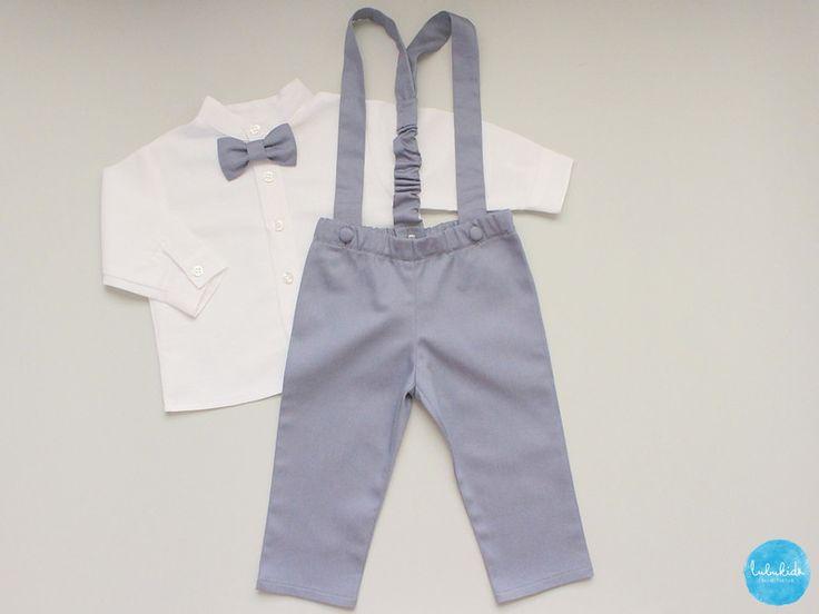 Taufkleidung - 3tlg. Set Taufanzug Trägerhose + Hemd + Fliege - ein Designerstück von lubukidz bei DaWanda