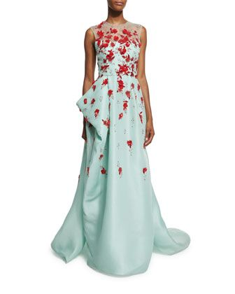 Sleeveless Draped Illusion Gown w/Contrast Floral Appliques, Seafoam by Monique Lhuillier at Neiman Marcus.
