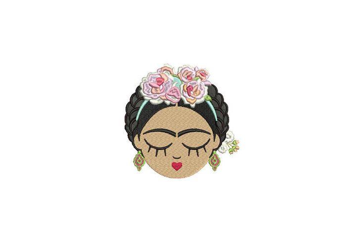 Frida Kahlo Face 2 Machine Embroidery File design 4x4 hoop Embroidery Patch Frida Embroidery by Oopsidaisi on Etsy https://www.etsy.com/au/listing/548039543/frida-kahlo-face-2-machine-embroidery