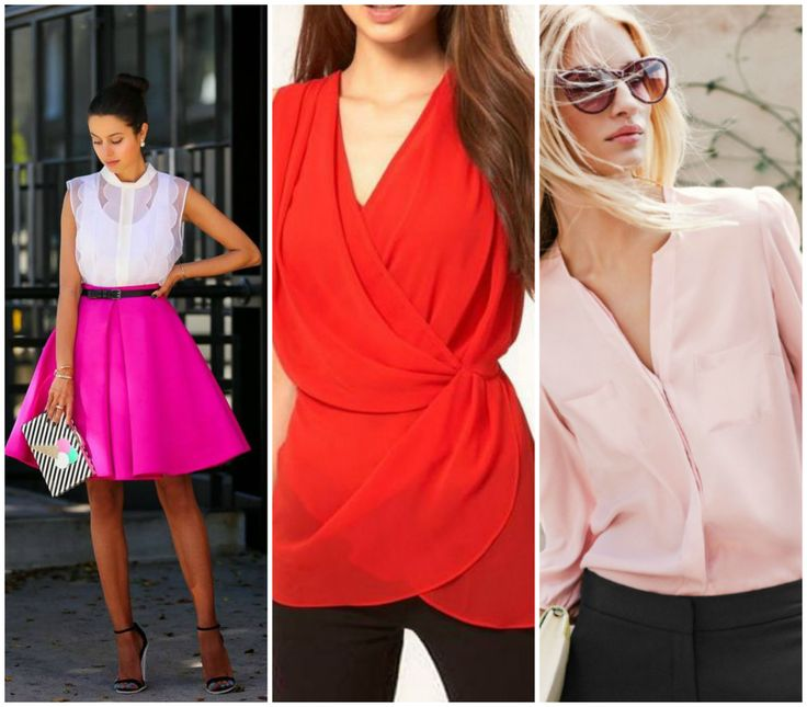 White top without shleeves, red wrap top and pink blouse. Pink midi skirt. Outfits for the hourglass body shape. Learn how to dress your hourglass figure >>> http://justbestylish.com/how-to-dress-the-hourglass-figure/2/