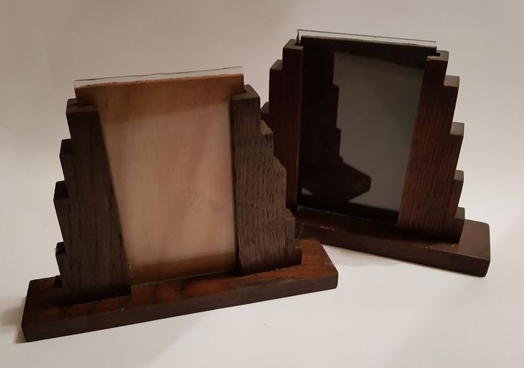 Beautiful pair of Art Deco stepped hardwood/glass photo frames 1930's film prop?