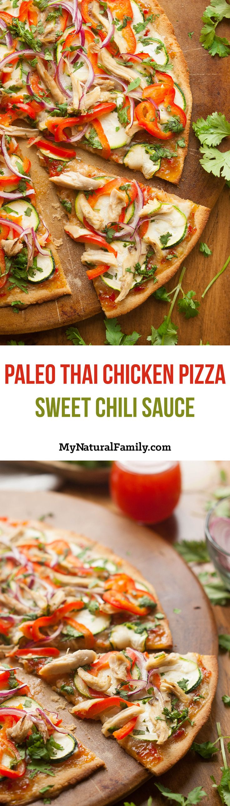 Paleo Thai Chicken Pizza Recipe with Paleo Sweet Chili Sauce. This pizza has a bold flavor and features fresh, crisp vegetables and bright colors.