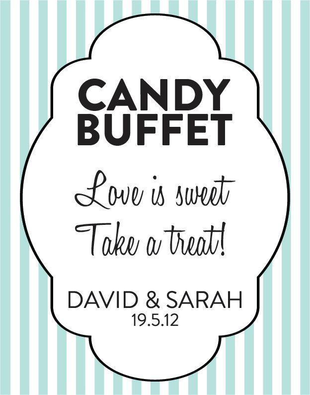 Custom Striped Modern Candy Bar Sign DIY Wedding by CreativePapier, $8.00