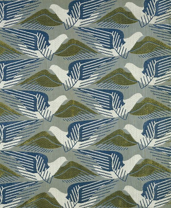 This cotton and rayon furnishing fabric called 'Avis' was designed by Marion Dorn (1896-1964) for Edinburgh Weavers about 1939. The pattern is made up of tesselating birds in flight.