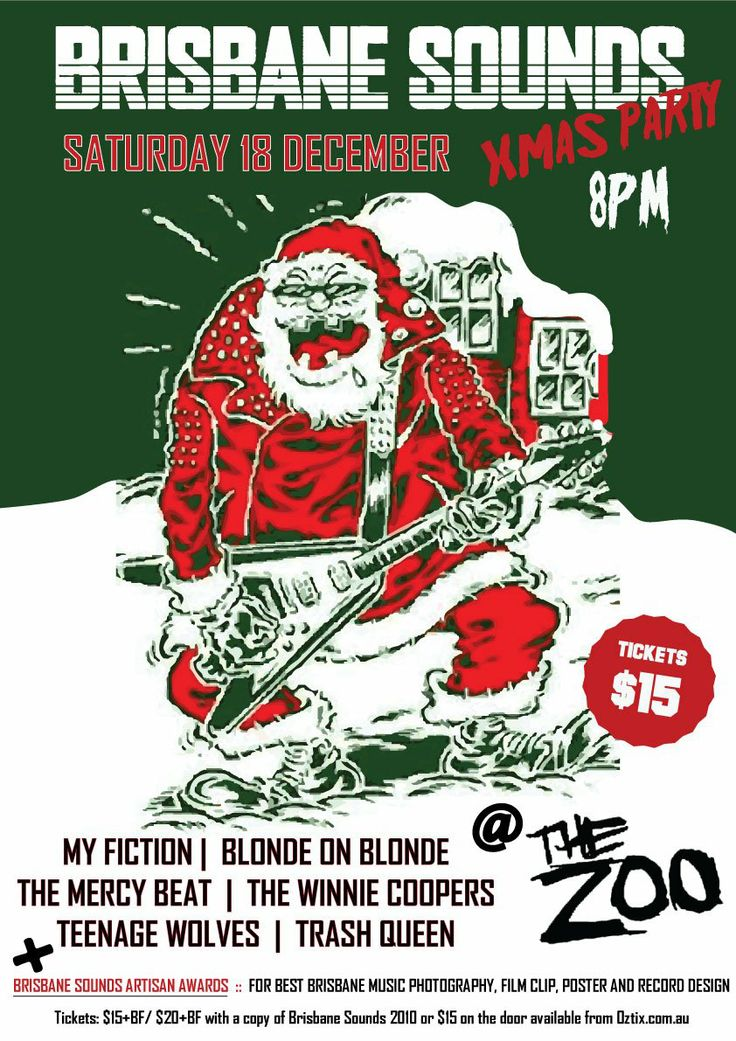 Brisbane Sounds 2010 XMAS Party event poster designed by Moonshine ...