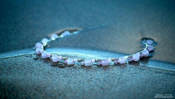 This headband is made with silver wire and rose quartz beads. Taken at Talmine Bay in Sutherland. Photo by Pamela Taylor Photography Rosering Creations x