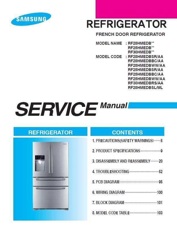 Samsung Rf25hmedbsr Rf25hmedbbc Rf25hmedbww Refrigerator Service Manual Refrigerator Service Refrigerator Models Disassembly