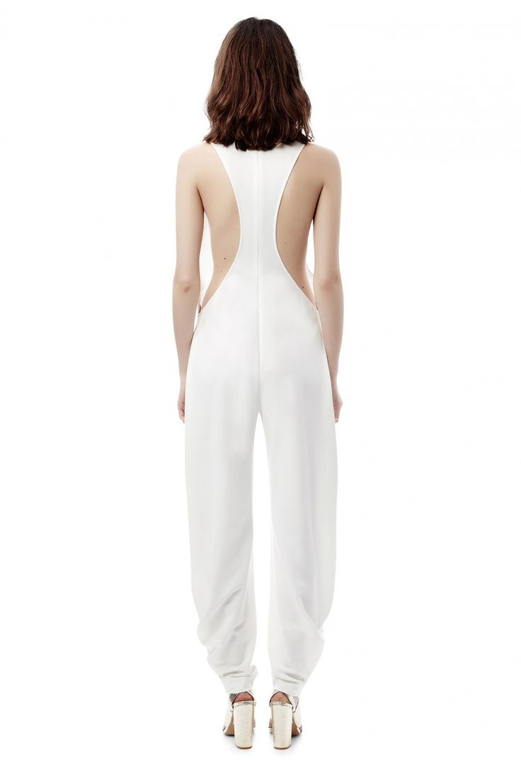 Axis Loose Fitting Jumpsuit with Deep Plunge Front · Cream White · AQ/AQ