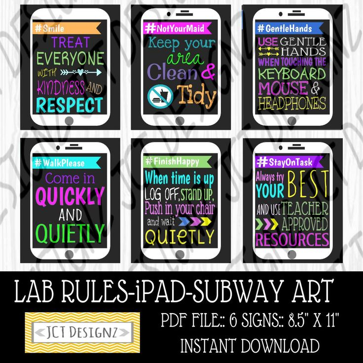 INSTANT DOWNLOAD, Computer Lab Rules, iPad Art, Technology Rules, Subway Rules, JCTDesignz, computer lab, rules sign, Subway Art Rules by JCTDesignz on Etsy