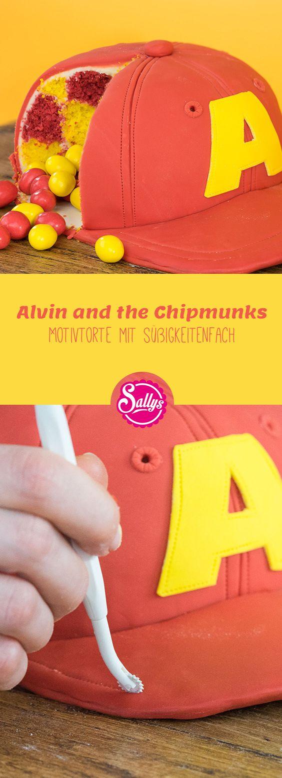 Alvin and the Chipmunks. Motivtorte mit Karomuster und Süßigkeitenfach im Inne…
