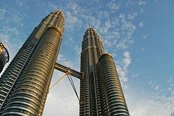 The Petronas Towers from their bases.