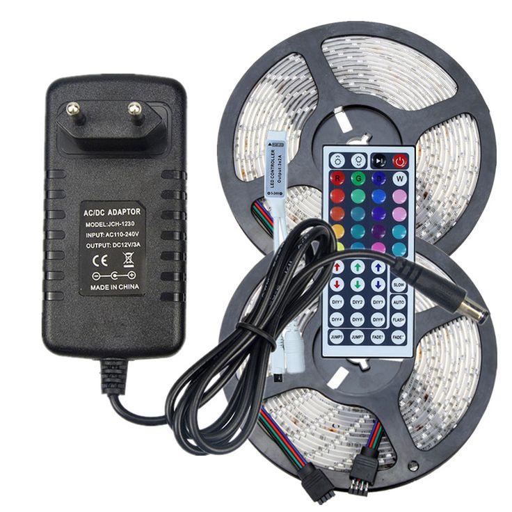 Étanche RGB LED Bande SMD 2835 12 V Éclairage de Bande 5 m 10 m 60 leds/m Multicolore Bande ruban + Télécommande IR + AC DC Adaptateur