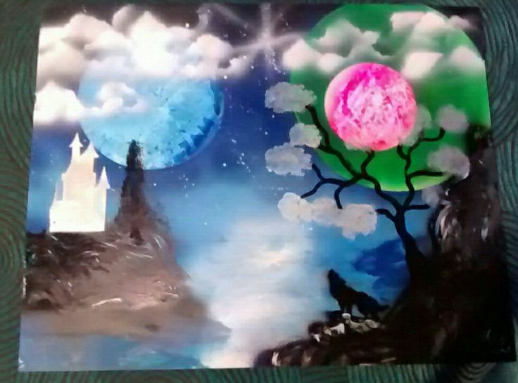 My first spray painting!!! I love this technic!❤