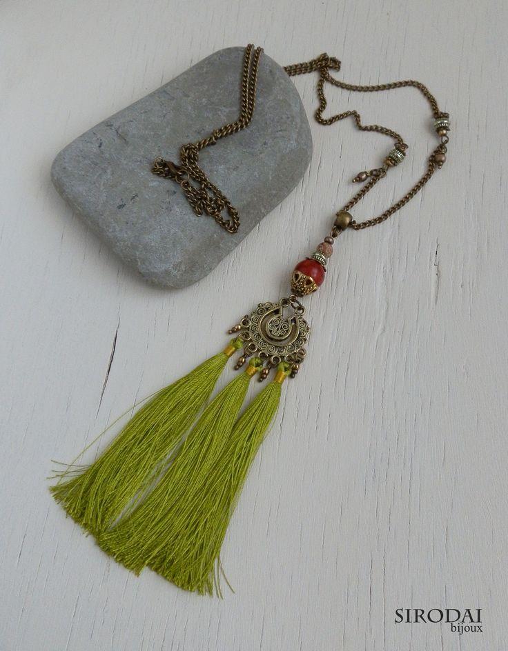 Сотуар в стиле бохо. Салатовый. tasselnecklace. necklace. tassel. handemade jewelry/ ручнаяработа.подвеска на шею.