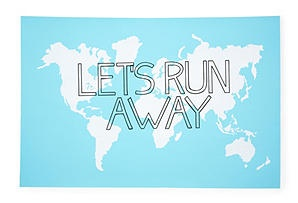 Let's Run Away Print, BlueIdeas, Lets Running Away, Blue, Lets Run Away, One King Lane, Quote, Travel, Graphics Appeal, Prints