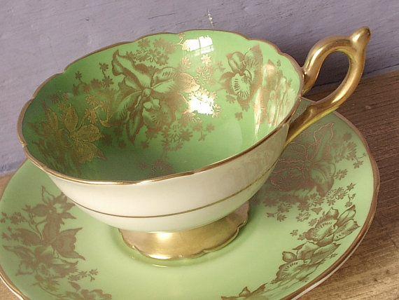 Antique green tea cup and saucer, vintage Coalport English tea set, green and gold bone china tea cup