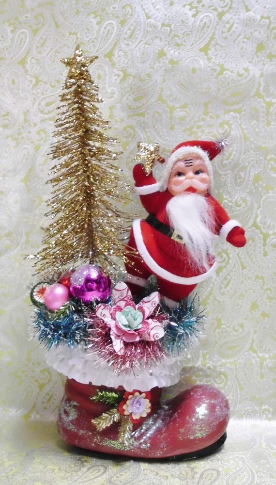 Made to order Santa Boot Bottle Brush Tree Vintage Felt Santa Vintage Ornaments