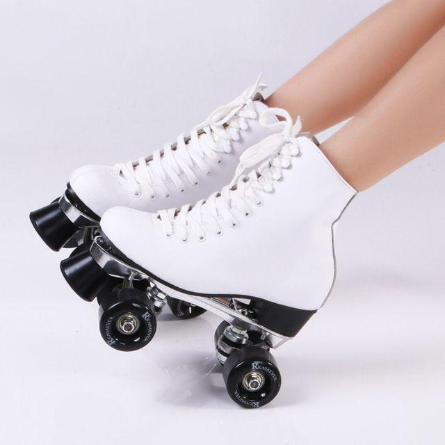RENIAEVER Patines de Rodillos Dobles de Cuero Genuino Con LA PU Ruedas de Dos Rodillos Laterales Señora Patines Patins Patins Skate zapatillas de Skate Para Adultos