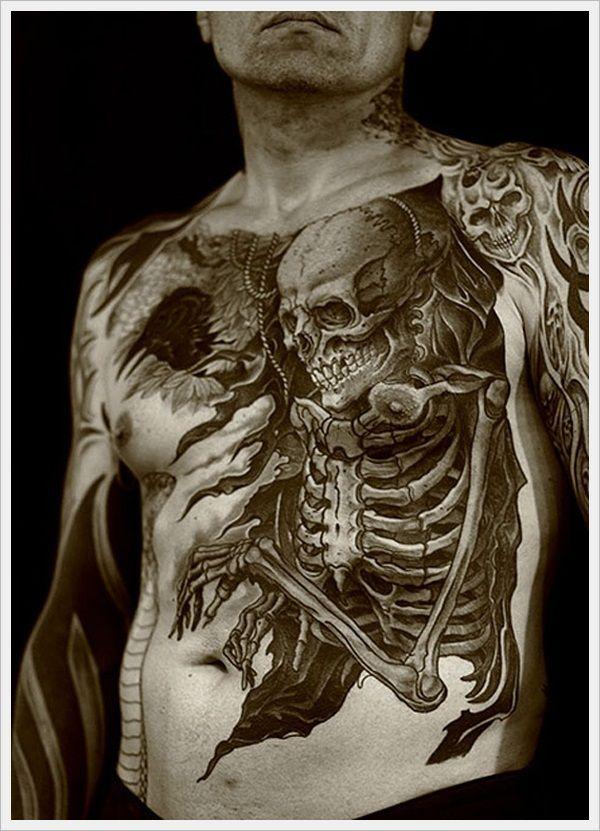Best tattoo designs for Men (37)-3d skeleton looks like he is inside the guy
