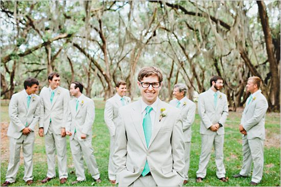 gray + teal groomsmen, and peach or coral bridesmaids....I'm in love!