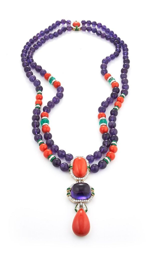 David Webb Totem Necklace - Cabochon Coral and Amethyst, Coral, Amethyst, and Carved Emerald Beads, Brilliant-Cut Diamonds, Green enamel, 18k gold and Platinum