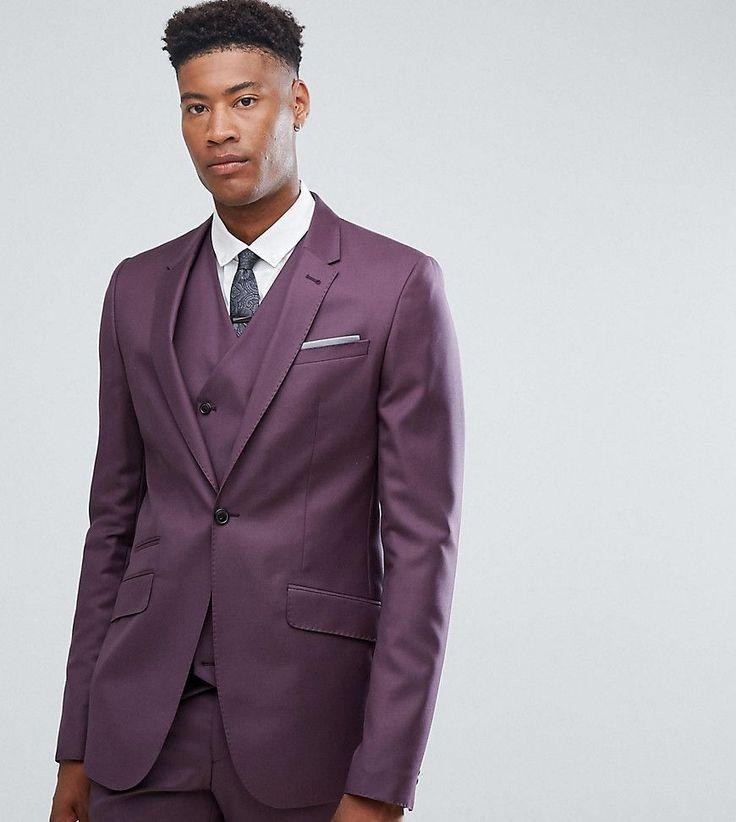 ASOS TALL Skinny Suit Jacket in 100% Wool in Dusky Purple - Purple