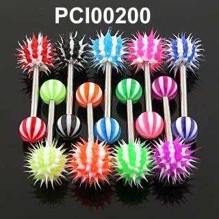 Piercing do jazyka s kuličkami ozdobenými silikonovými štětinkami. http://www.piercingate.cz/piercing-do-jazyka-pci00200-1