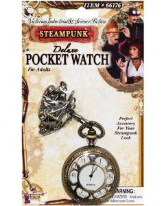 Steampunk deluxe pocket watch (Package Of 4) by Forum Novelties Inc.. $35.30. 4 Pack. great bedroom gift. Great to stock your shelfs. Keep track of the time in your steam powered world with this Steampunk Deluxe Pocket Watch from Forum Novelties. Crafted in the mechanical steampunk tradition this deluxe pocket watch is designed in a vintage gold color with engraving throughout the piece. The engraved cover opens to reveal a better view of the clock. The Pocket Watch is...