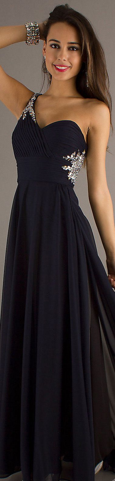 Formal long dress #oneshoulder #black Look at this nice black dress, it isn't blue. It's black. like the hashtag says