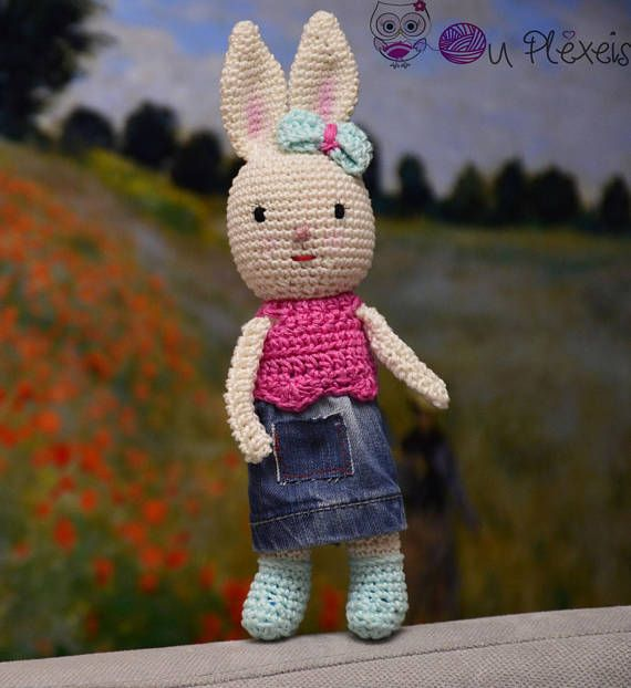 Little Bunny Doll Amigurumi Crochet Stuffed Bunny Kids Toy