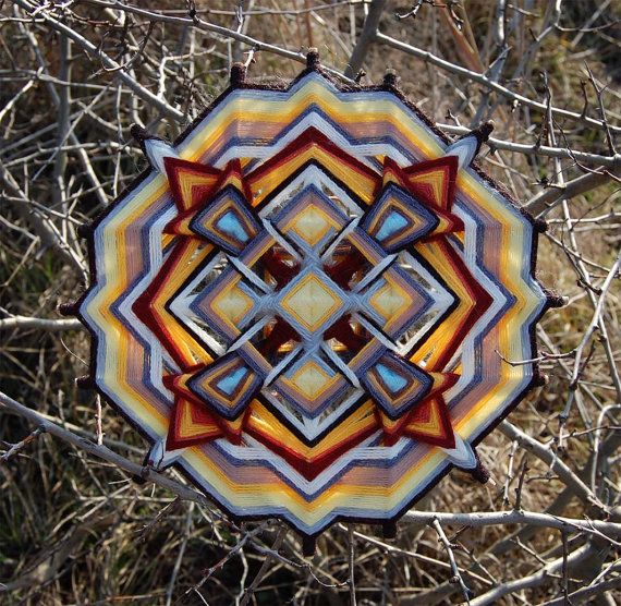 Ashes yarn mandala  Ojo de Dios 11 inches 28 cm by JivaMandalas