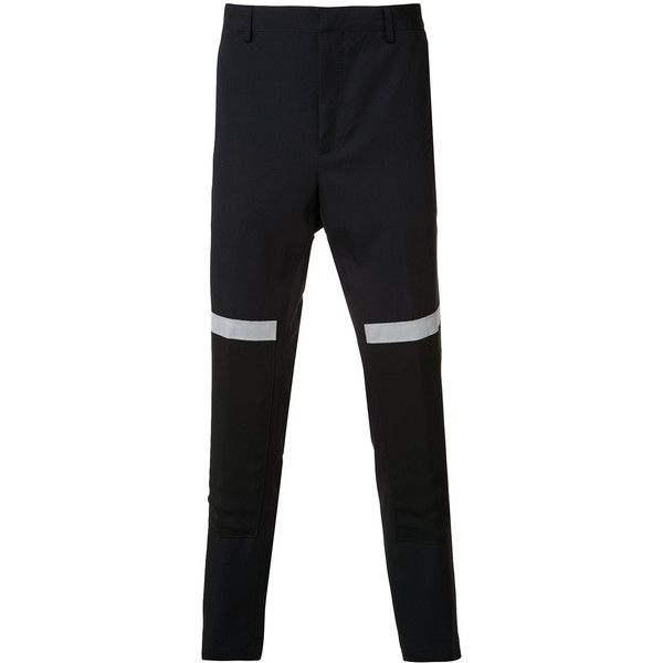 Lanvin band detail trousers (510 CHF) ❤ liked on Polyvore featuring men's fashion, men's clothing, men's pants, men's casual pants, blue, mens elastic waistband pants, mens formal pants, mens blue pants, mens slim fit pants and mens slim pants