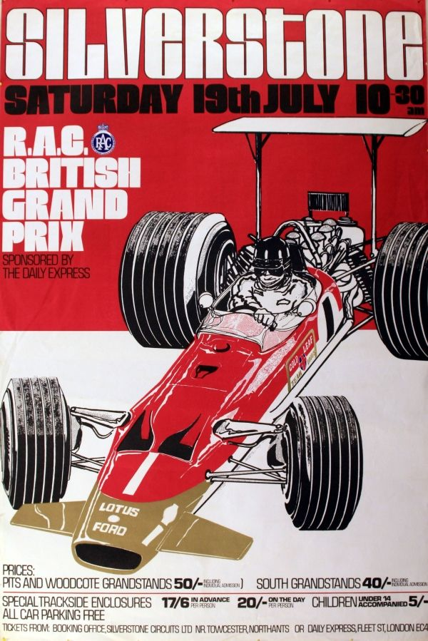1969 Silverstone Grand Prix - original vintage poster listed on AntikBar.co.uk