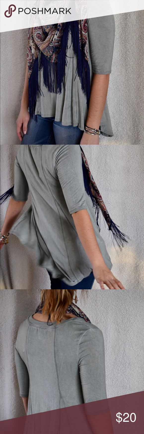 St. Tropez West Moss Green Flowy Shirt Such a comfortable material and style!  Very causal and flowy (I was having fun spinning :D )  Great neutral shirt to pair with fun scarves or bold jewelry!   Material: 94% Rayon 6% Spandex  1/2 sleeve shirt (though categorized as long sleeve) St. Tropez Tops Tees - Long Sleeve