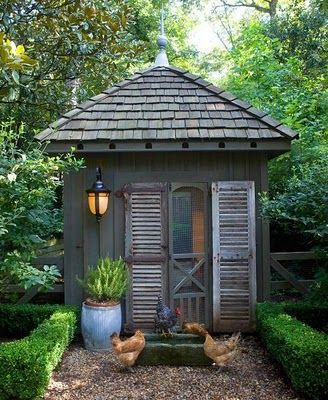 love this one: Fresh Eggs, Gardens Houses, Cute Chicken Coops, French Country, Chicken Houses, Screens Doors, Pots Sheds, Shutters, Gardens Sheds