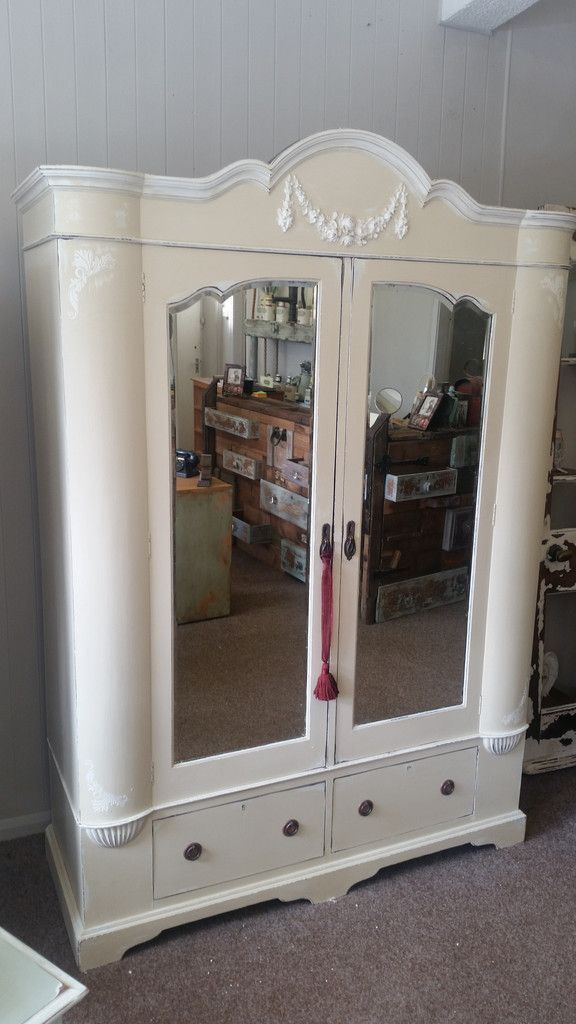 Painted armoire wardrobe in Everlong Double Cream and porcelain white
