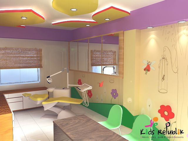 Design for a kids dental clinic with a very fun theme, following their existing animal safari design. We completed the construction of this room last year (2014)