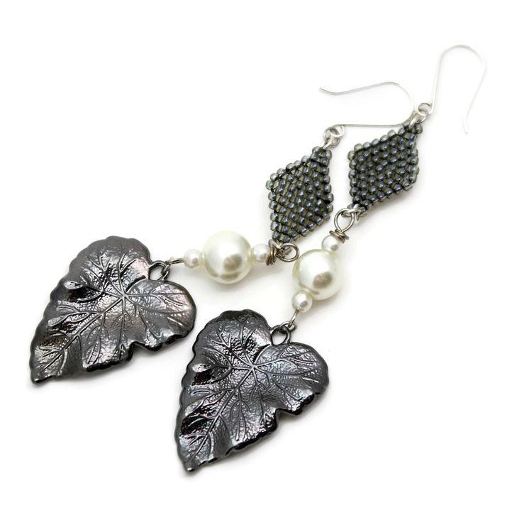 Statement Earrings, Long Shoulder Skimmers, Gunmetal Gray Leaf, Pearl And Beaded Earrings