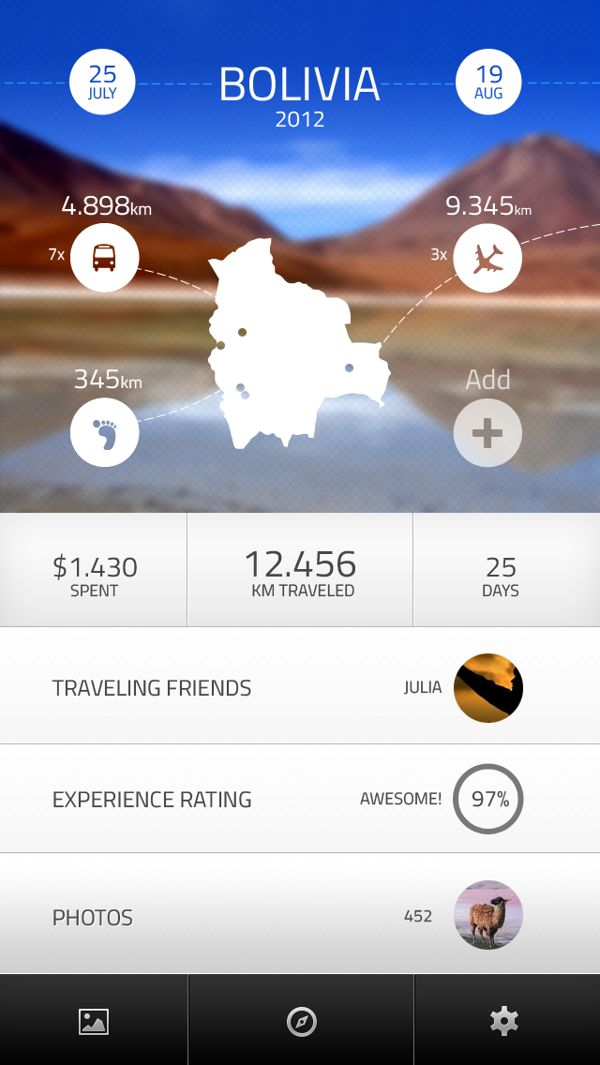 Travel Log App by Tomas Zeman, via Behance