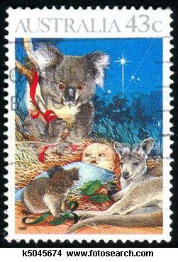 Native Australian Animals feature on this Christmas Postage Stamp - Australia Post