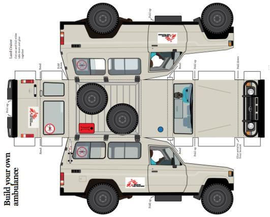 Medecins Sans Frontieres Toyota Land Cruiser Ambulance Paper Model by Toyota UK        This Toyota Land Cruiser Ambulance is used by the humanitarian organisation Medecins Sans Frontieres, which delivers emergency aid in more than 60 countries across the globe.