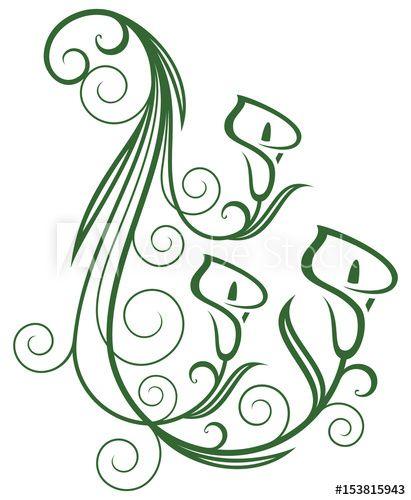 Calla Lily Floral Swirls Design Elements Vector Illustration