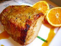 Lomo de cerdo asado con zumo de naranja, mostaza y miel pimienta sal ajo vino blanco horno salsa