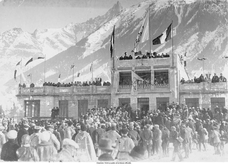 Chamonix 1924-The audience and the official stand. Add Around The Rings on www.Twitter.com/AroundTheRings & www.Facebook.com/AroundTheRings for the latest info on the Olympics.