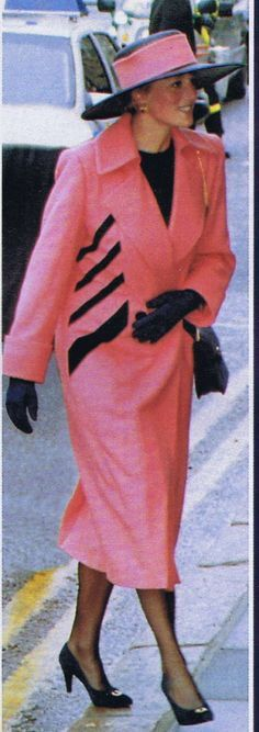 On 30 April 1992- Diana Princess of Wales Arriving in Barrow-in-Furness Cumbria to Name HMS VANGUARD-Britain's First TRIDENT Submarine. PINKAHOLIC GOLD